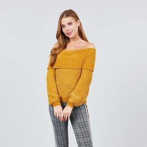 Sweaters - Long Sleeve Fold Over Off The Shoulder Chenille
